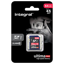 Buy Integral Ultimapro 64GB Class 10 UHS-I SDXC Memory Card, up to 45MB/s Online at johnlewis.com