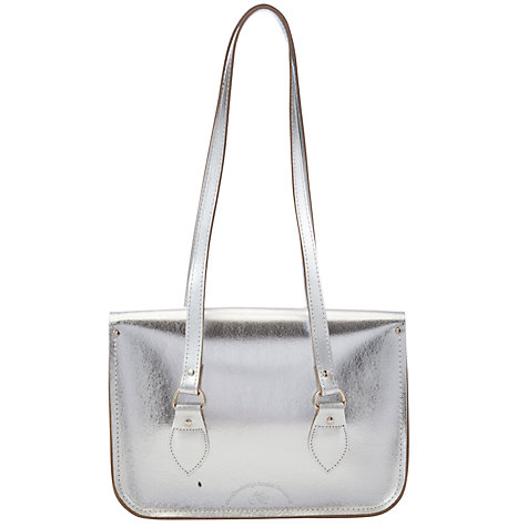 "Buy The Cambridge Satchel Company 14"" Leather Shoulder Bag, Silver Online at johnlewis.com"