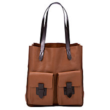 Buy Collection WEEKEND by John Lewis Frances Pocket Leather Tote Handbag, Tan Online at johnlewis.com