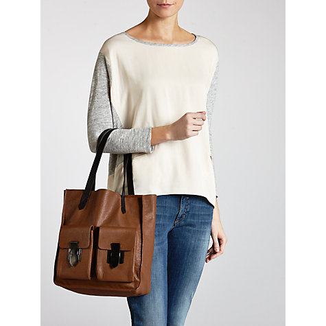 Buy Collection WEEKEND by John Lewis Frances Pocket Leather Tote Bag, Tan Online at johnlewis.com