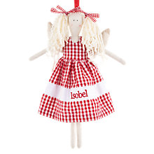 Buy Cambric & Cream Personalised Gingham Angel Tree Decoration Online at johnlewis.com
