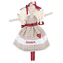 Buy Cambric & Cream Personalised Linen Spot Angel Tree Decoration Online at johnlewis.com
