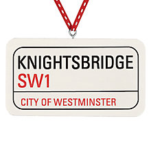 Buy Deck The Halls Knightsbridge Street Sign Wooden Tree Decoration Online at johnlewis.com