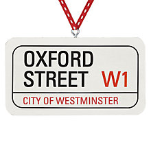 Buy Deck the Halls Oxford Street Sign Wooden Tree Decoration Online at johnlewis.com