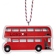 Buy Deck The Halls Wooden London Bus Hanging Decoration Online at johnlewis.com