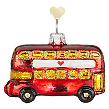 Buy Bombki Little London Bus Glass Tree Decoration, Red Online at johnlewis.com