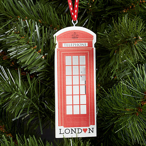 Buy Deck The Halls Phone Box Wooden Tree Decoration Online at johnlewis.com