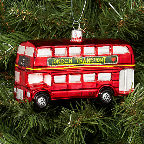Buy Bombki Large London Bus Glass Hanging Decoration, Red Online at johnlewis.com