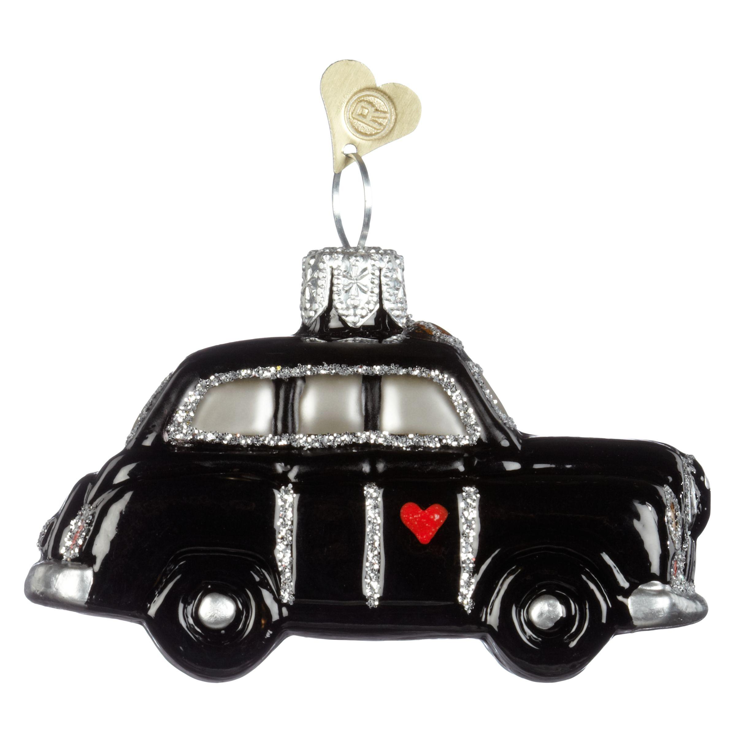 Bombki Bombki Tourism Little London Taxi Glass Hanging Decoration, Black