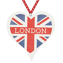 Buy Deck The Halls Wooden Union Jack Heart Tree Decoration Online at johnlewis.com