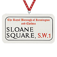 Buy Deck The Halls Sloane Square Street Sign Wooden Hanging Decoration Online at johnlewis.com