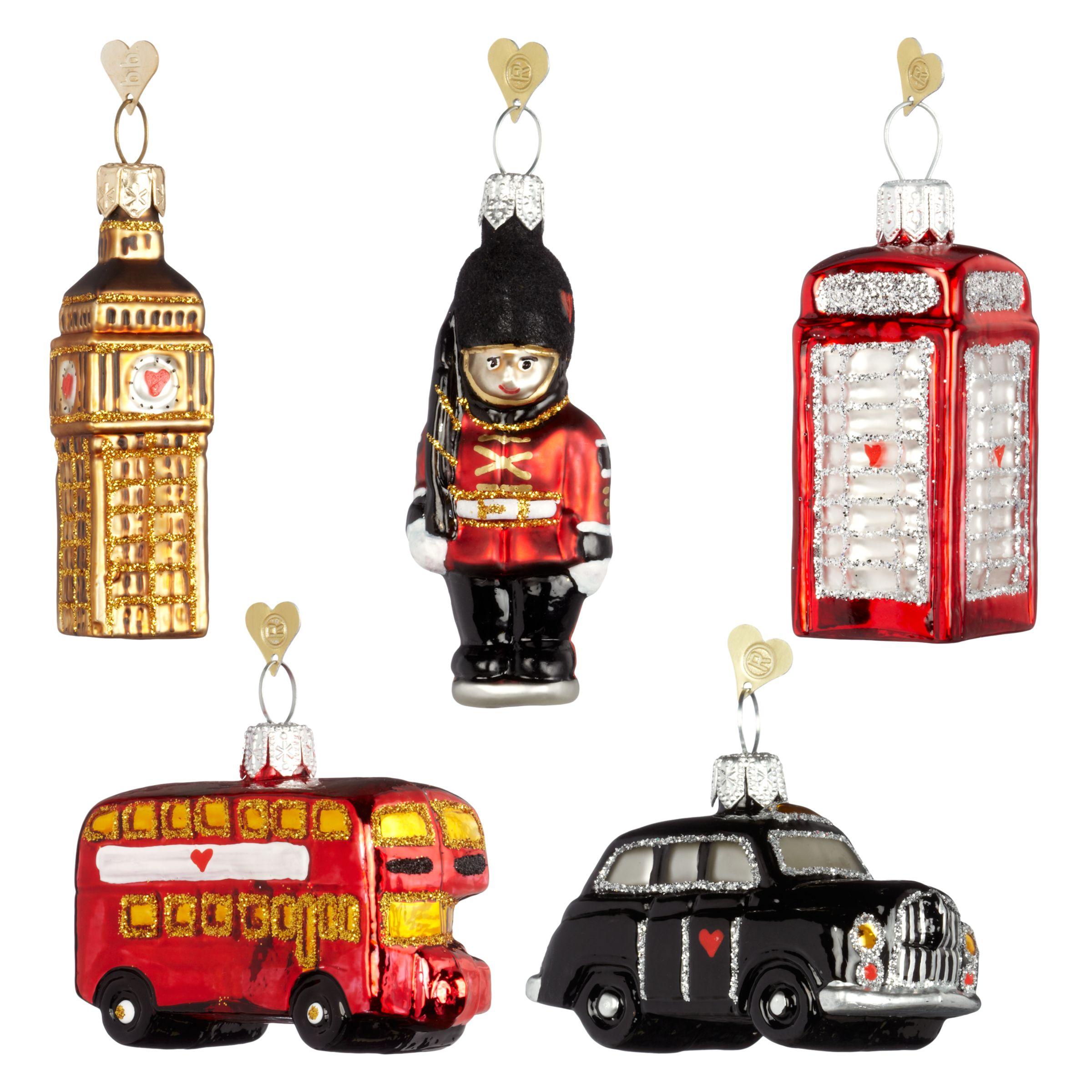 Bombki Bombki Tourism Little London Glass Hanging Decorations, Set of 5