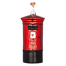 Buy Bombki Large Post Box Glass Hanging Decoration, Red Online at johnlewis.com