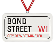 Buy Deck The Halls Bond Street Sign Wooden Hanging Decoration Online at johnlewis.com