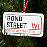 Buy Deck The Halls Bond Street Sign Wooden Tree Decoration Online at johnlewis.com