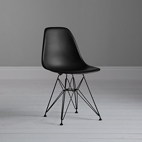 Buy Vitra Eames DSR Side Chair, Black with Black Base Online at johnlewis.com