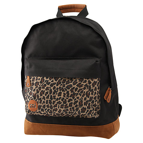 Buy Mi-Pac Leopard Print Backpack, Black Online at johnlewis.com
