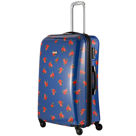 Buy John Lewis Martha Floral 4 Wheel Medium Hard Case, Navy Online at johnlewis.com