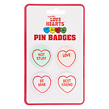 Buy Love Heart Pin Badges, Pack of 4 Online at johnlewis.com