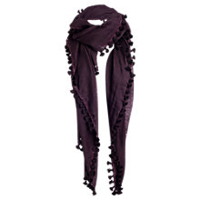 Buy Jigsaw Pom Pom Scarf, Dark Purple Online at johnlewis.com