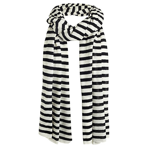 Buy Jigsaw Jersey Stripe Scarf, Black Online at johnlewis.com