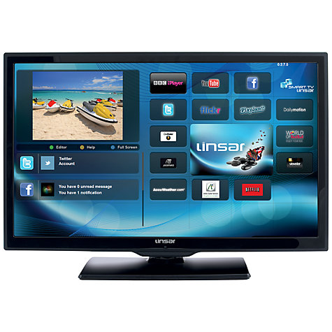 "Buy Linsar 28LED1000S LED HD 720p Smart TV/DVD Combi, 28"" with Freeview HD, Black Online at johnlewis.com"