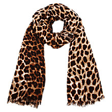 Buy Oasis Leopard Print Scarf, Light Neutral Online at johnlewis.com