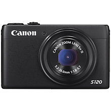 "Buy Canon PowerShot S120 Digital Camera, HD 1080p, 12.1MP, 5x Optical Zoom, Wi-Fi, GPS, 3"" Touch Screen with Memory Card Online at johnlewis.com"