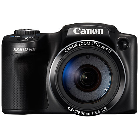 Buy Canon PowerShot SX510 HS Bridge Camera, HD 1080p, 12.1MP, 30x Optical Zoom, Wi-Fi, 3 LCD Screen, Black Online at johnlewis.com
