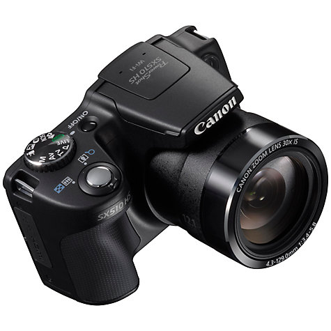 "Buy Canon PowerShot SX510 HS Bridge Camera, HD 1080p, 12.1MP, 30x Optical Zoom, Wi-Fi, 3"" LCD Screen, Black Online at johnlewis.com"