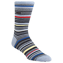 Buy Calvin Klein Barcode Stripe Cotton Rich Socks, One Size, Light Blue/Multi Online at johnlewis.com