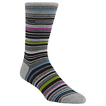 Buy Calvin Klein Barcode Stripe Cotton Rich Socks, One Size, Grey/Multi Online at johnlewis.com