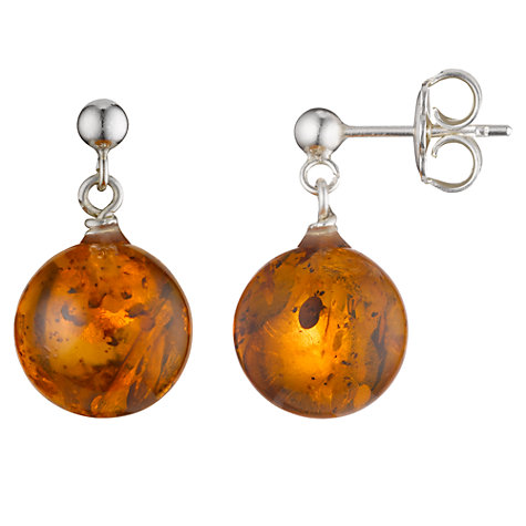 Buy Cobra & Bellamy Sterling Silver Amber Drop Earrings Online at johnlewis.com