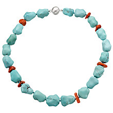 Buy Cobra & Bellamy Beads And Coral Necklace, Turquoise Online at johnlewis.com