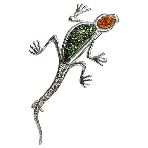 Buy Goldmajor Sterling Silver And Amber Lizard Brooch Online at johnlewis.com