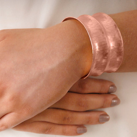 Buy Dower & Hall 18ct Rose Gold Vermeil Double Concave Hammered Cuff Online at johnlewis.com