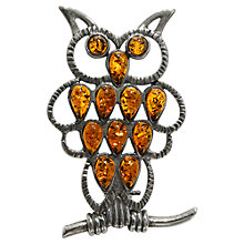 Buy Goldmajor Sterling Silver And Amber Owl Brooch Online at johnlewis.com