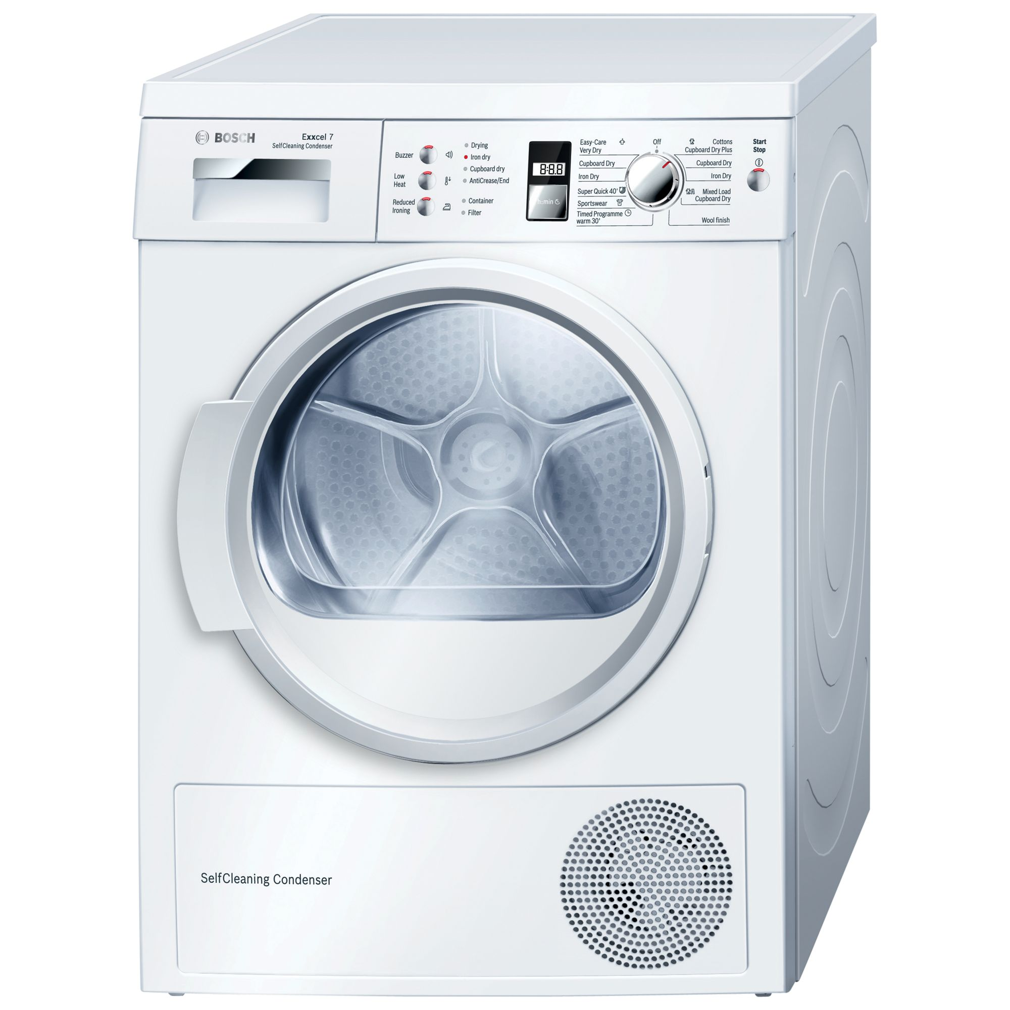 Bosch WTW863S1GB Exxcel 7kg Freestanding Condenser Tumble Dryer - White