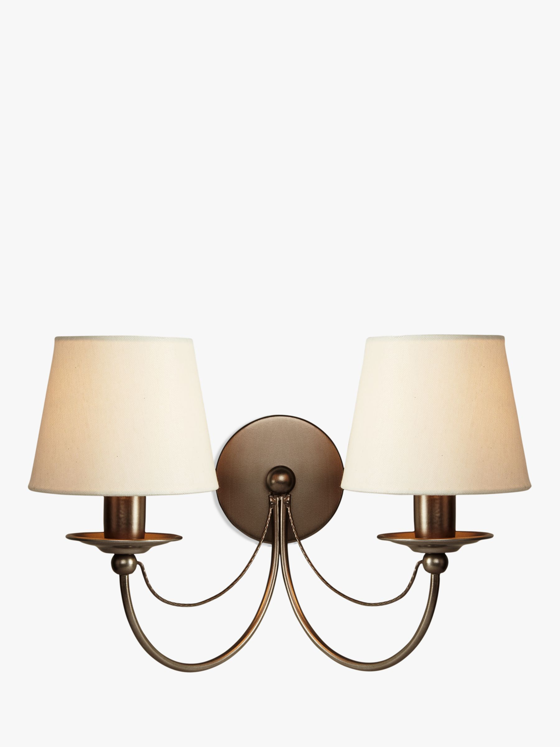 John Lewis Wall Lamp Shades : Buy John Lewis Mariana Fabric Shade Wall Light, 2 Arm John Lewis