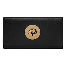 Buy Mulberry Daria Leather Continental Wallet, Black / Gold Online at johnlewis.com