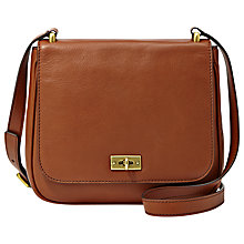 Buy Fossil Memoir Novella Across Body Leather Handbag, Brown Online at johnlewis.com