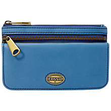 Buy Fossil Explorer Leather Flap Clutch Purse, Blue Online at johnlewis.com