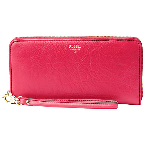 Buy Fossil Sydney Leather Zip Clutch, Bright Pink Online at johnlewis.com