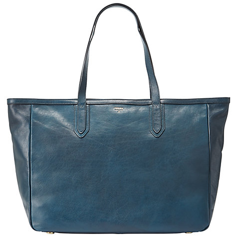 Buy Fossil Sydney Leather Tote Handbag, Heritage Blue Online at ...