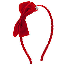 Buy John Lewis Girl Minnie Mouse Velvet Alice Band, Red Online at johnlewis.com