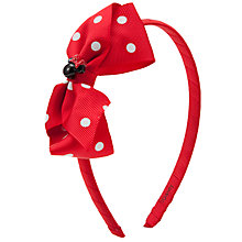 Buy John Lewis Girl Minnie Mouse Polka Dot Alice Band, Red Online at johnlewis.com