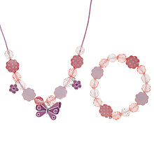 Buy John Lewis Girl Butterfly and Flower Necklace and Bracelet Set, Pink Online at johnlewis.com