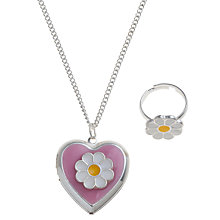 Buy John Lewis Girl Daisy Locket and Ring Set Online at johnlewis.com