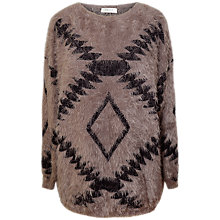Buy Paisie Mocha Fluffy Aztec Jumper, Mocha Online at johnlewis.com