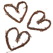 Buy John Lewis Natural Mini Heart Wreaths, Pack of 3, Brown Online at johnlewis.com
